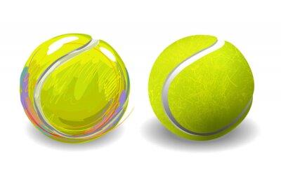 Affisch Tennis Ball isolerad på vit bakgrund. Alla delar är i separata lager och grupperas.
