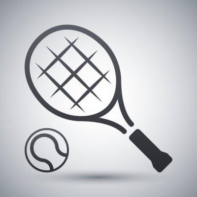 Affisch Tennisracket och tennisboll, vektor ikon