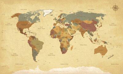 Affisch Texturerad tappning världskartan - engelska / amerikanska etiketter - vektor CMYK