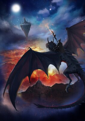 Affisch The dragon warrior are sitting on the dragon flying to the floating island with sky and burning background.  2D artwork.