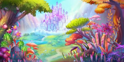 Affisch The Forest and Castle. Mountain and River. Fiction Backdrop. Concept Art. Realistic Illustration. Video Game Digital CG Artwork. Nature Scenery.