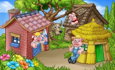 Affisch The Three Little Pigs Fairytale Scene