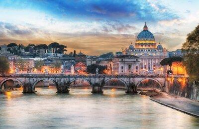 Affisch Tibern och Peterskyrkan i Vatikanen med regnbåge, Rom