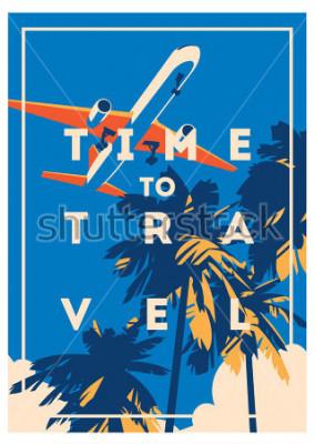 Affisch Tid att resa och sommarferieaffisch.