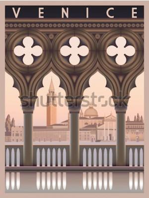 Affisch Tidig morgon i Venedig, Italien. Res- eller vykortsmall. Alla byggnader är olika föremål. Handgjord ritning vektorillustration. Vintagestil.