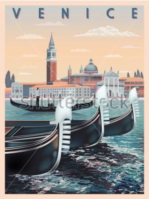 Affisch Tidig morgon i Venedig, Italien. Rese- eller postkortmall. Alla byggnader är olika föremål. Handgjord ritning vektorillustration. Vintagestil.