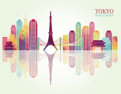 Affisch Tokyo detaljerade horisonter. vektor