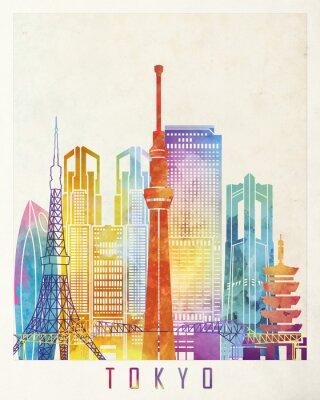 Affisch Tokyo landmärken akvarell affisch