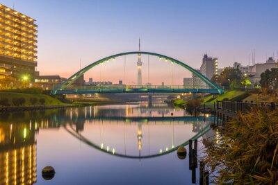 Affisch Tokyo Skytree och färgstarka bron i refection