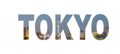 Affisch Tokyo stad namnskylt med foto i bakgrunden. Isolerad på vit bakgrund ..