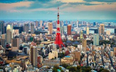 Affisch Tokyo utsikt över staden syns på horisonten