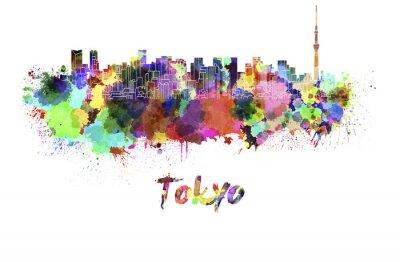 Affisch Tokyo V2 skyline i vattenfärg