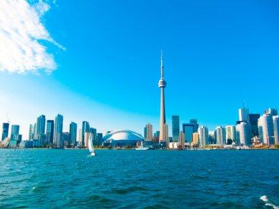 Affisch Toronto stadens silhuett från färjan reser till centrum ön