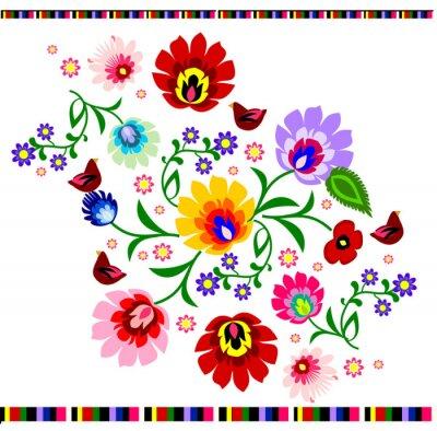 Affisch Traditionella polska blom folk mönster vektor
