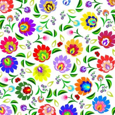 Affisch Traditionella polska folk blommönster vektor