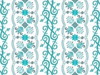 Affisch Traditionella utsmyckade portugisiska och brasilianska kakel azulejos i turkosa färger. Tappning mönster. Abstrakt bakgrund. Vektor illustration, eps10.