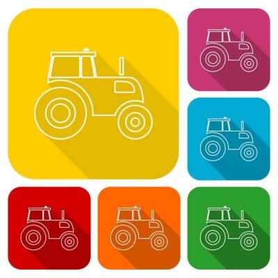 Affisch Traktor ikoner som med lång skugga