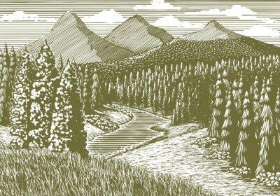 Affisch Träsnitt-stil illustration av en bergslandskap med en bäck som rinner genom den.