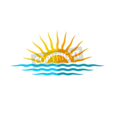 Affisch Travel logo mall. Solen med havsvågor.