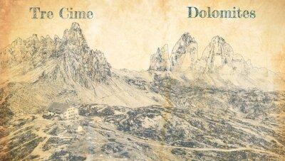 Affisch Tre Cime di Lavaredo in Dolomites, Italy, sketch on paper