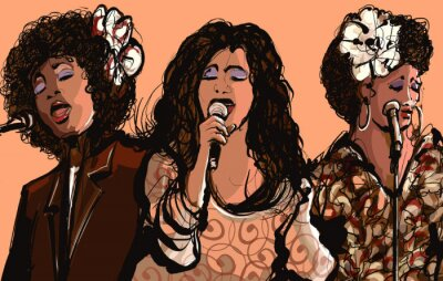 Affisch Tre kvinnor jazzsångerskor