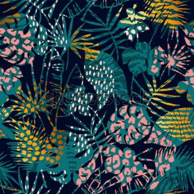 Affisch Trendiga sömlösa exotiska mönster med tropiska växter och djurtryck. Vektorillustration. Modern abstrakt design för papper, tapeter, omslag, tyg, inredning och andra användare