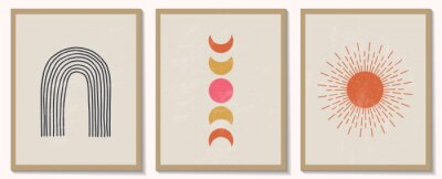 Affisch Trendy contemporary set of abstract geometric minimalist composition