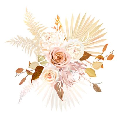 Affisch Trendy dried palm leaves, blush pink rose, pale protea, white ranunculus, pampas grass vector