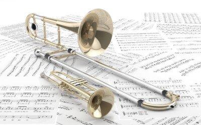 Affisch Trombon y Trompeta sobre partituras 2