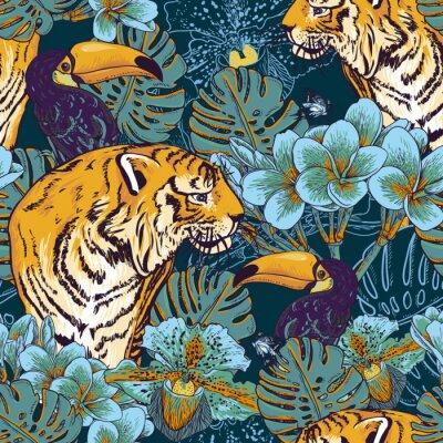 Affisch Tropisk blommig sömlös bakgrund med Tiger