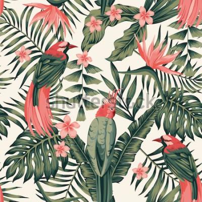 Affisch Tropiska löv, blommor frangipani, paradisfåglar, papegoja abstrakta färger sömlös realistisk vektorbild