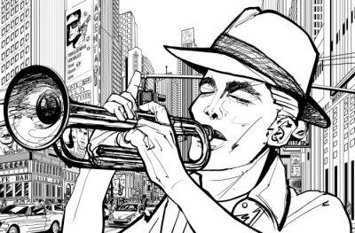 Affisch trumpetare i nya york