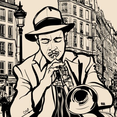 Affisch trumpetspelare på en stadsbild bakgrund