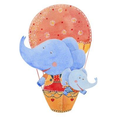 Affisch två elefanter flyga i en ballong, vattenfärg illustration