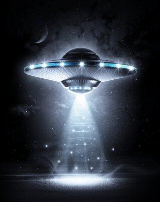 Affisch UFO i mörk natt