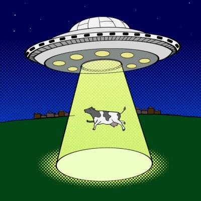 Affisch Ufo tar ko popkonst stil vektor