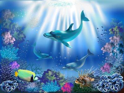 Affisch Undervattensvärlden med delfiner och växter