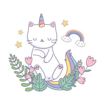 Affisch Unicorn cat cartoon vector design