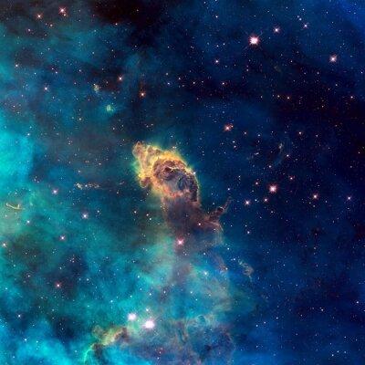 Affisch Universum fyllt med stjärn jet, stjärnor, nebulosa och galax.