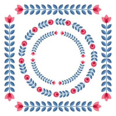 Affisch Uppsättning av designelement - runda blommiga ramar
