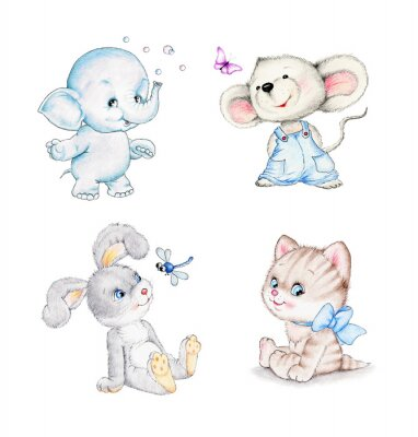 Affisch Uppsättning av djur: elefant, mus, kattunge, kanin