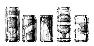 Affisch uppsättning av dryckesburkar