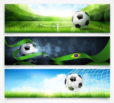 Affisch Uppsättning av fotbolls banderoller. Vektor