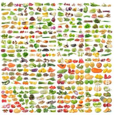 Affisch uppsättning av grönsaker och frukt på vit bakgrund
