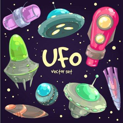 Affisch Uppsättning av handritade UFO