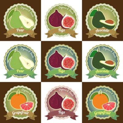 Affisch Uppsättning av olika färska frukter premium kvalitet Etiketten emblem klistermärke