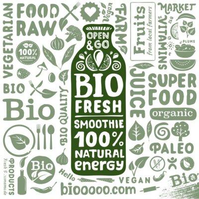 Affisch Uppsättning av organiska etiketter och ikoner för naturlig bio livsmedel