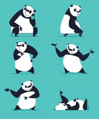 Affisch Uppsättning av Panda i olika poser. Sitter, drömma, tänkande, visande, liggande, inbjudande, svarvning. Varje Panda är i separata lager.