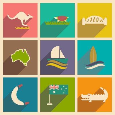 Affisch Uppsättning av platta ikoner med lång skugga Australian