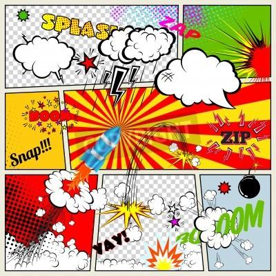 Affisch Uppsättning av retro serietidnings Vector designelement, tal och tanke Bubblar